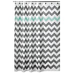 iDesign® 72-Inch x 72-Inch Chevron Shower Curtain in Blue/Grey