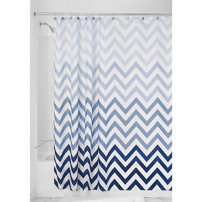 Alternate image 1 for iDesign® Ombre Shower Curtain in Blue