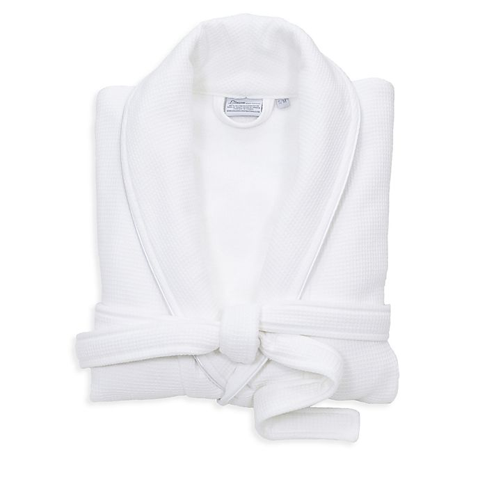 Alternate image 1 for Linum Home Textiles Small/Medium Waffle Terry Turkish Cotton Unisex Bathrobe in White