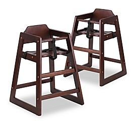Flash Furniture Baby High Chairs in Walnut (Set of 2)