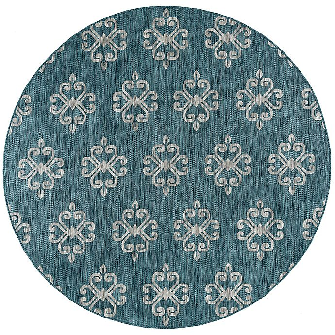Alternate image 1 for Tayse Rugs Veranda Geo Indoor/Outdoor 7-Foot 10-Inch Round Area Rug in Teal