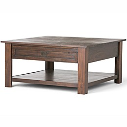 Simpli Home Monroe 38-Inch Square Coffee Table with Distressed Charcoal Brown Stain