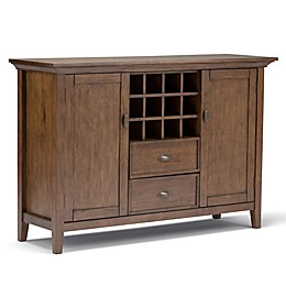 Simpli Home Redmond Buffet Server/Sideboard Cabinet with Wine Rack in Brown