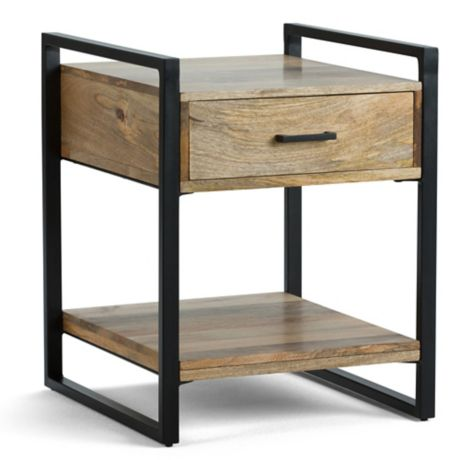 riverside mango wood side table in natural bed bath beyond. Black Bedroom Furniture Sets. Home Design Ideas