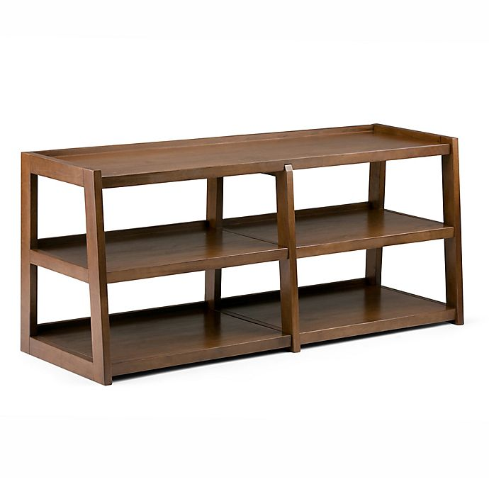 Alternate image 1 for Simpli Home Sawhorse 60-Inch Wide TV Media Stand in Saddle Brown