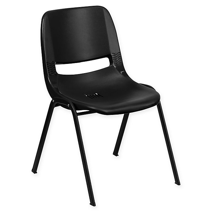 Alternate image 1 for Flash Furniture Heavy Duty 22-Inch Plastic Stackable Chair with Black Frame in Black