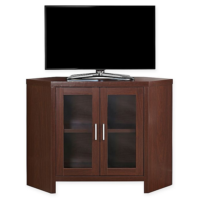 Monarch Specialties 42 Inch Corner Tv Stand With Glass Doors Bed