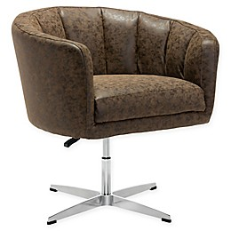 Zuo Modern Faux Leather Swivel Chair in Coffee
