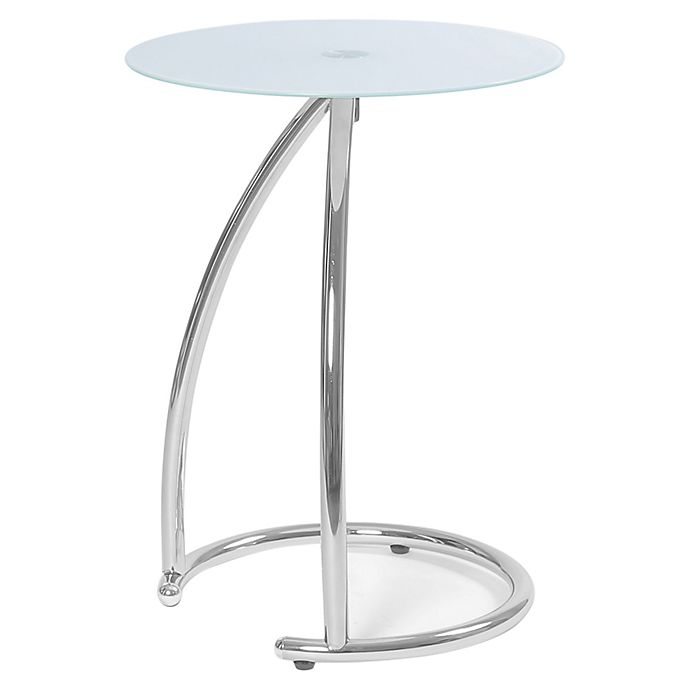Alternate image 1 for Monarch Specialties 23-Inch Chrome Accent Table with White Frosted Glass Tabletop