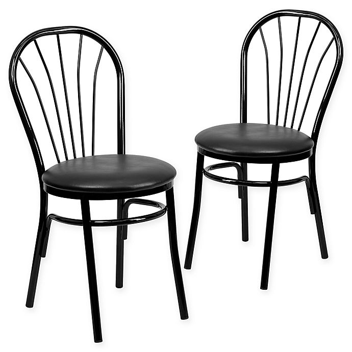 Alternate image 1 for Flash Furniture Metal Fan Back Chair in Black (Set of 2)