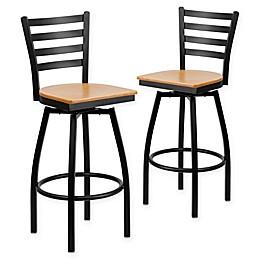 Flash Furniture Ladder Back Black Metal Swivel Bar Stools with Wood Seats (Set of 2)