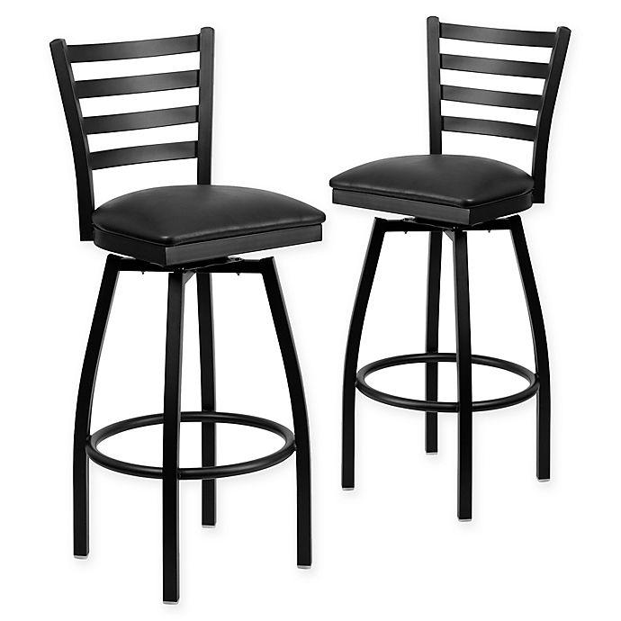 low priced 2baae 141d7 Flash Furniture Ladder Back Black Metal Swivel Bar Stools ...