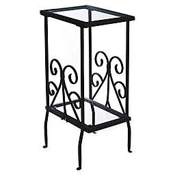 Monarch Specialties 30-Inch Metal and Glass Accent Table
