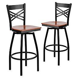 "Flash Furniture ""X"" Back Metal/Wood Swivel Bar Stools (Set of 2)"