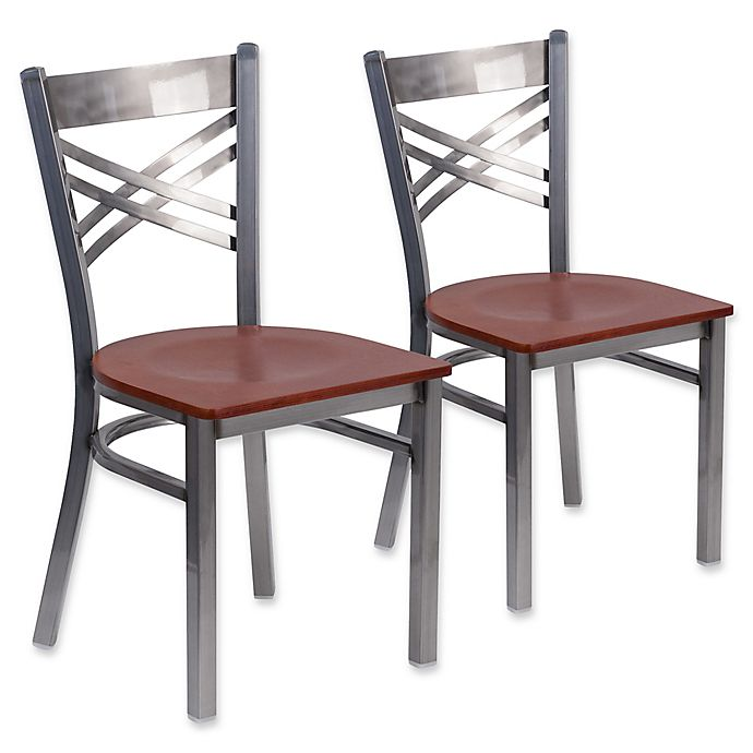 Clear Kitchen Chairs: Flash Furniture Clear Coated Metal Chairs With Wood Seats