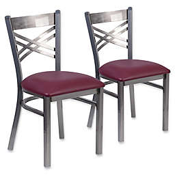 Flash Furniture Clear Coated Metal Chairs with Vinyl Seat (Set of 2)
