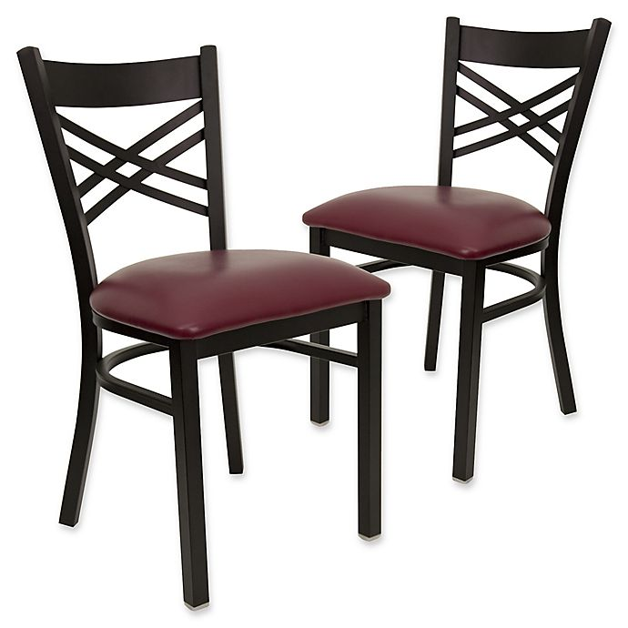 Alternate image 1 for Flash Furniture X-Back Black Metal Chairs with Burgundy Vinyl Seats (Set of 2)