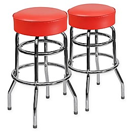 Flash Furniture Double Ring Chrome Stool with Vinyl Seat (Set of 2)