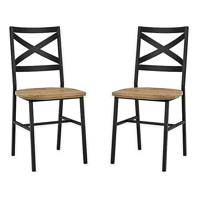 Alternate image 1 for Forest Gate Wheatland XinBack Metal Wood Dining Chair  (Set of 2)