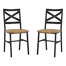Forest Gate Wheatland XinBack Metal Wood Dining Chair  (Set of 2)