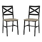 Forest Gate Wheatland XinBack Metal Wood Dining Chair in Driftwood (Set of 2)