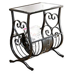 Monarch Specialties 22-Inch Metal and Glass Accent Table