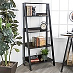 Forest Gate 55  Modern Wood Ladder Bookshelf in Black