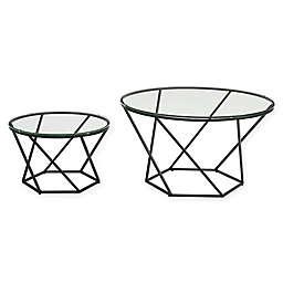 Forest Gate Olivia Modern Geometric Glass Nesting Coffee Tables