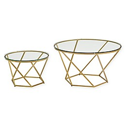 Forest Gate Olivia Modern Geometric Glass Nesting Coffee Tables