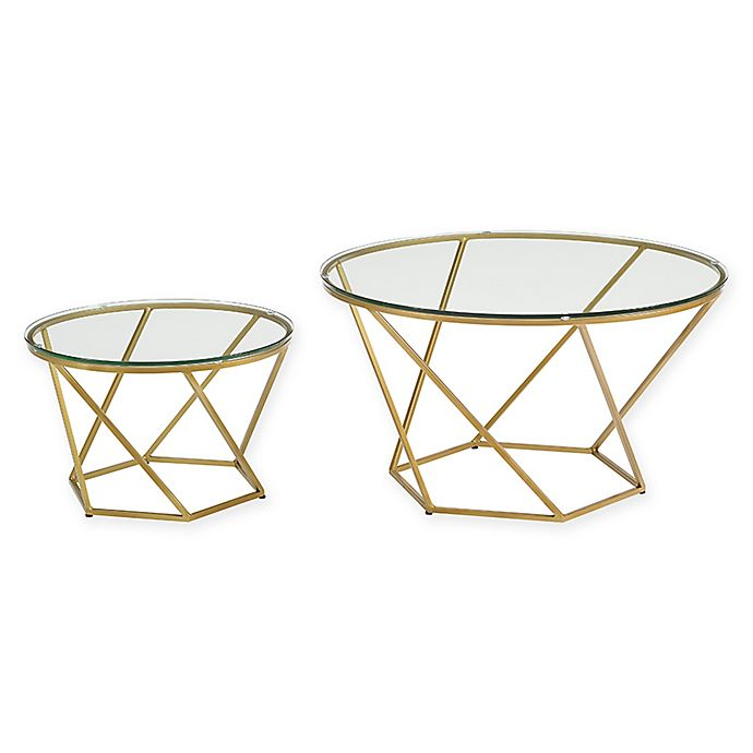 Alternate image 1 for Forest Gate Olivia Modern Geometric Glass Nesting Coffee Tables