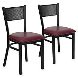 Flash Furniture Metal Grid Back Chair (Set of 2)