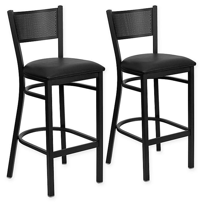 Buy Flash Furniture Metal Grid Back Stool In Black With