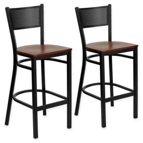 Buy Flash Furniture Grid Back Stool In Cherry Black Set