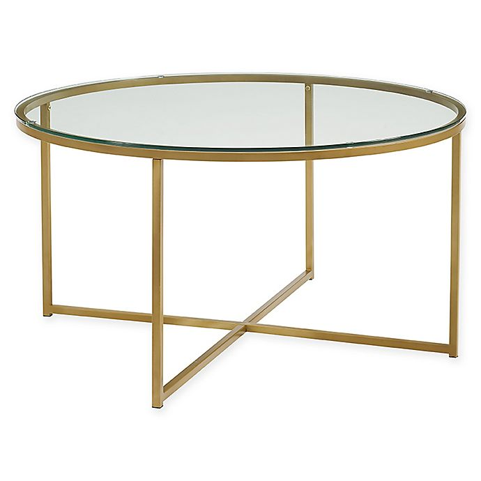 Alternate image 1 for Forest Gate X-Base Round Coffee Table in Gold
