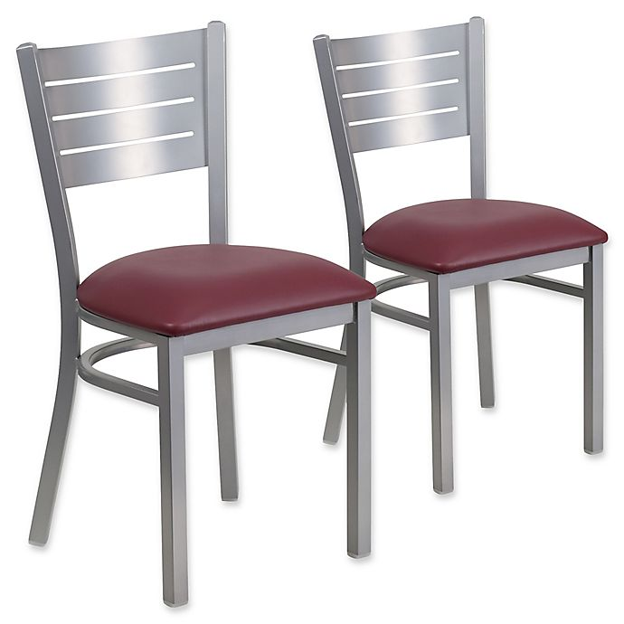 Alternate image 1 for Flash Furniture Slat Back Silver Metal Chairs with Burgundy Vinyl Seats (Set of 2)