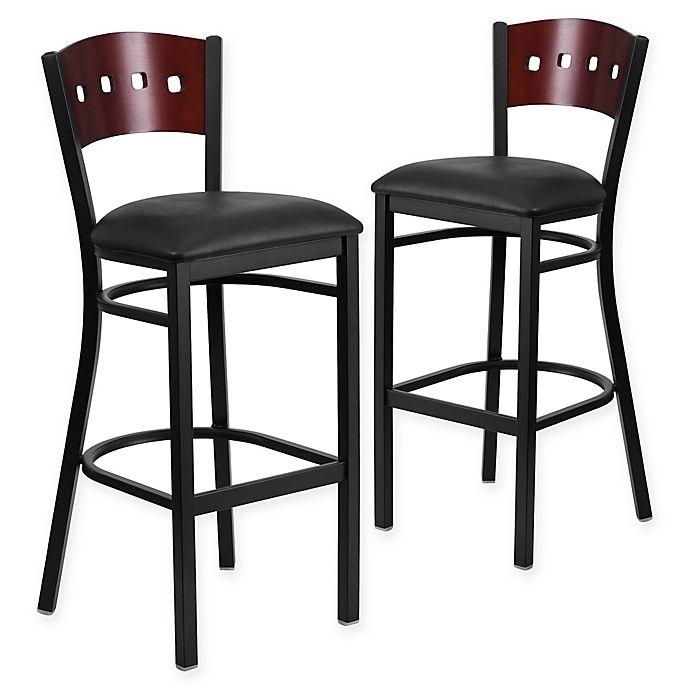 Alternate image 1 for Flash Furniture Square Back Padded Bar Stool in Mahogany/Black (Set of 2)