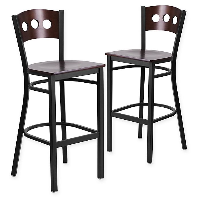Flash Furniture Circle Back Metal Bar Stools With Walnut