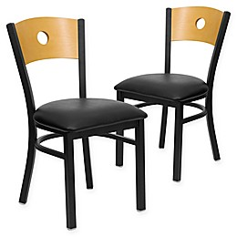 Flash Furniture Circle Back Metal and Natural Wood Chairs with Vinyl Seats (Set of 2)