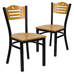 Flash Furniture Slat Back Metal and Natural Wood Chairs (Set of 2)