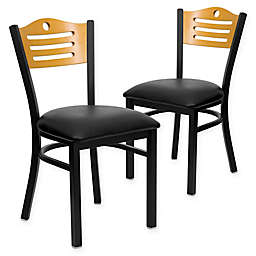 Flash Furniture Slat Back Metal and Natural Wood Chairs with Vinyl Seats (Set of 2)