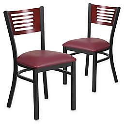 Flash Furniture Slat Back Metal and Wood Chairs with Vinyl Seats (Set of 2)