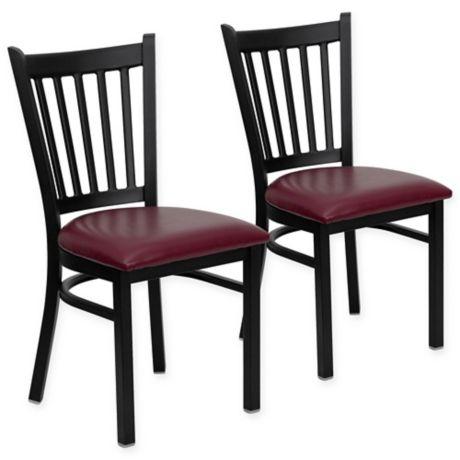 Flash Furniture Vertical Slat Black Metal Dining Chairs