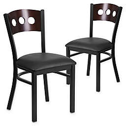 Flash Furniture Circle Back Metal and Walnut Wood Chairs with Vinyl Seats (Set of 2)