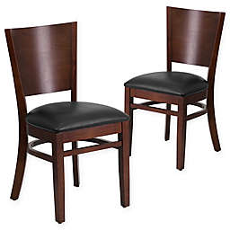 Flash Furniture Solid Back Wood Chairs with Vinyl Seats (Set of 2)