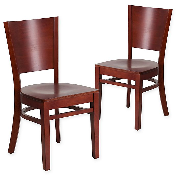 Alternate image 1 for Flash Furniture Solid Back Mahogany Wood Chairs (Set of 2)