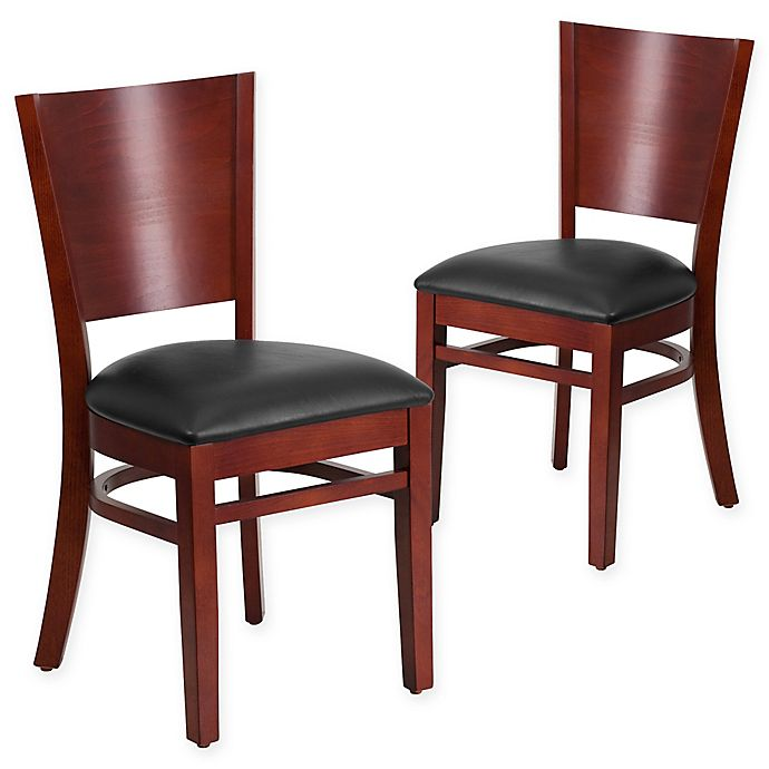 Alternate image 1 for Flash Furniture Solid Back Mahogany Wood Chairs with Black Vinyl Seats (Set of 2)