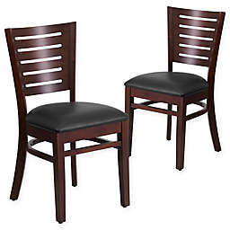 Flash Furniture Slat Back Wood Chairs with Vinyl Seats (Set of 2)
