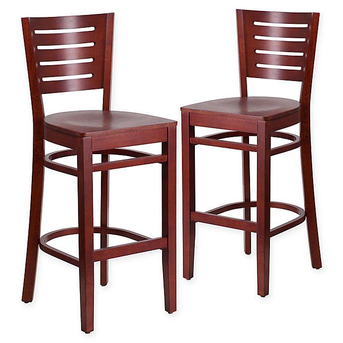 Alternate image 1 for Flash Furniture Slat Back Mahogany Wood Stools (Set of 2)
