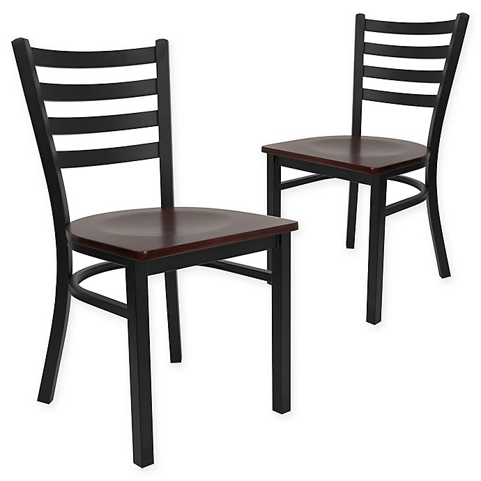 Alternate image 1 for Flash Furniture Ladder Back Black Metal Chairs with Mahogany Wood Seats (Set of 2)