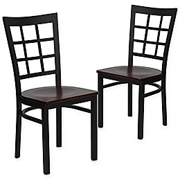 Flash Furniture Window Back Black Metal Chairs with Wood Seats (Set of 2)
